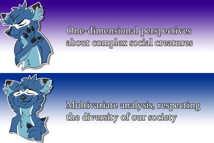 """Drakeposting meme; Top: """"One-dimensional perspectives about complex social creatures"""" Bottom: """"Multivariate analysis, respecting the diversity of our society"""""""